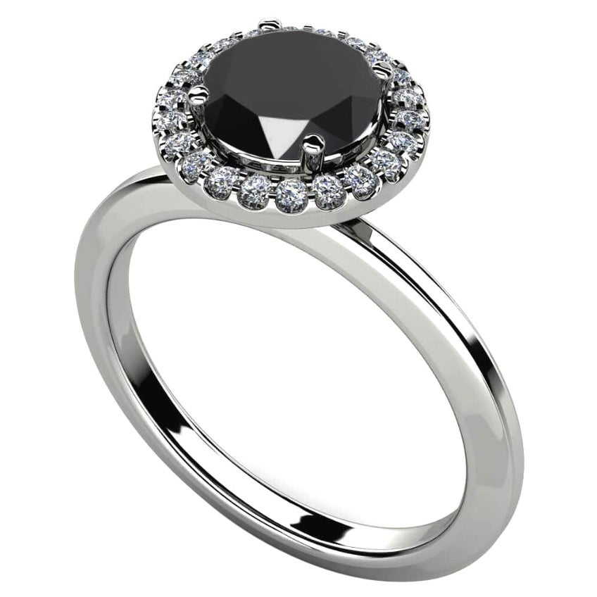 2.28 Carat Round Black Diamond Halo Cocktail Ring in 14K White Gold