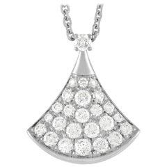 Bvlgari Divas Dream 18K White Gold Diamond Pendant Necklace