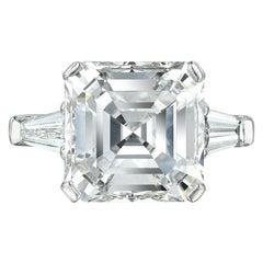 GIA Certified 4 Carat Asscher Cut Diamond Solitaire Ring