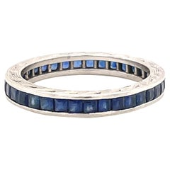 Vintage Sapphire Platinum Band Ring