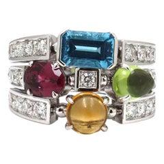 Bvlgari Allegra White Gold Multi Stone Diamond Ring