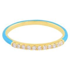 Turquoise Enamel Diamond 14 Karat Gold Ring