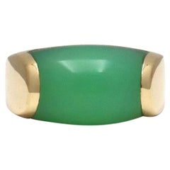 Bvlgari 'Tronchetto' Yellow Gold Chrysoprase Ring