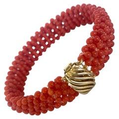 Marina J. Woven Mediterranean Coral Bracelet with 14K Yellow Gold