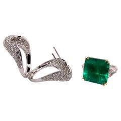 18k White Gold Columbian Certified Emerald Ring with Custom Diamond Jacket