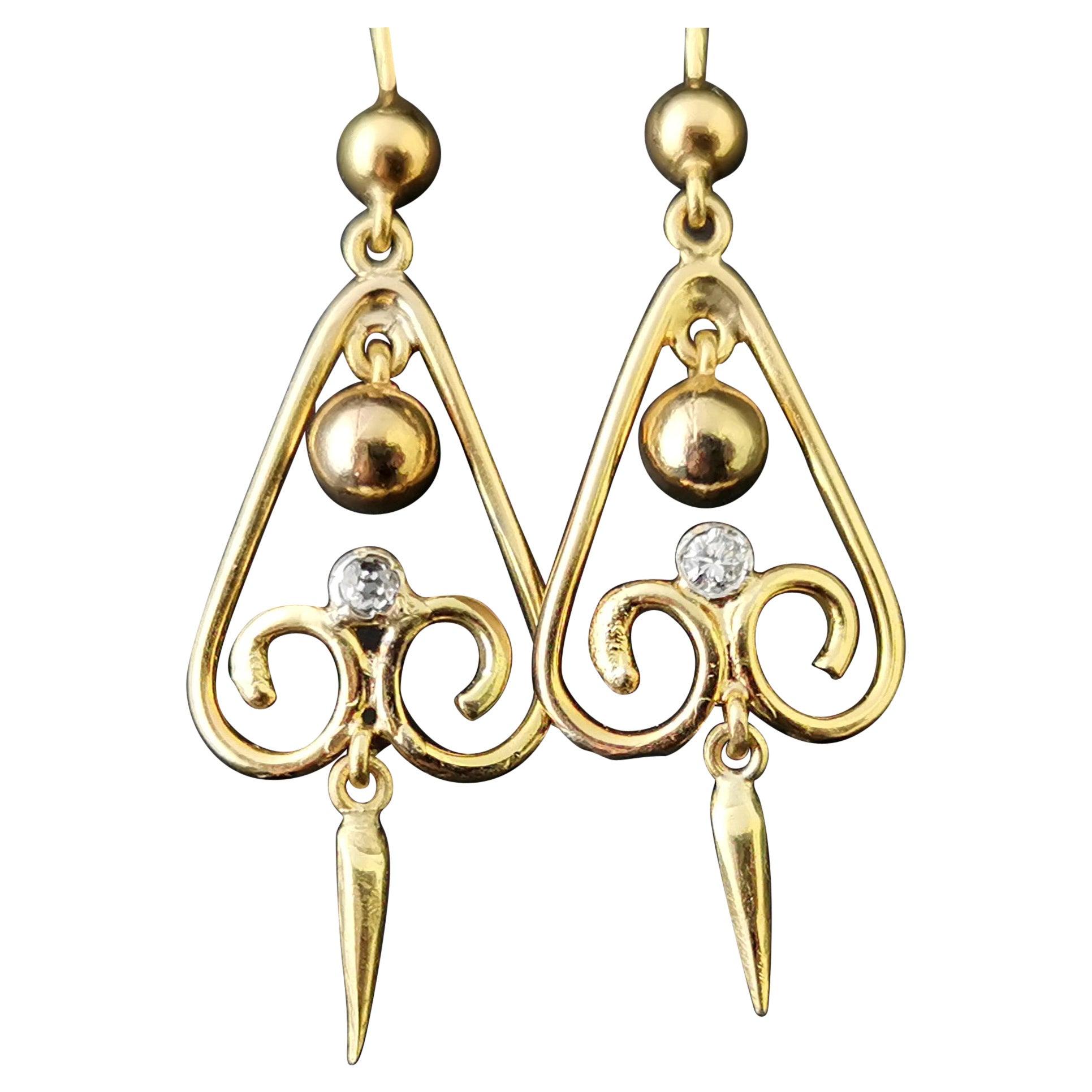 Antique Victorian Diamond Drop Earrings, 15ct Yellow Gold, Dangly Earrings
