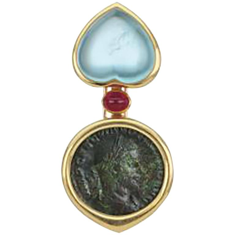 Bulgari Monete Ancient Coin Aquamarine Gold Brooch Pendant