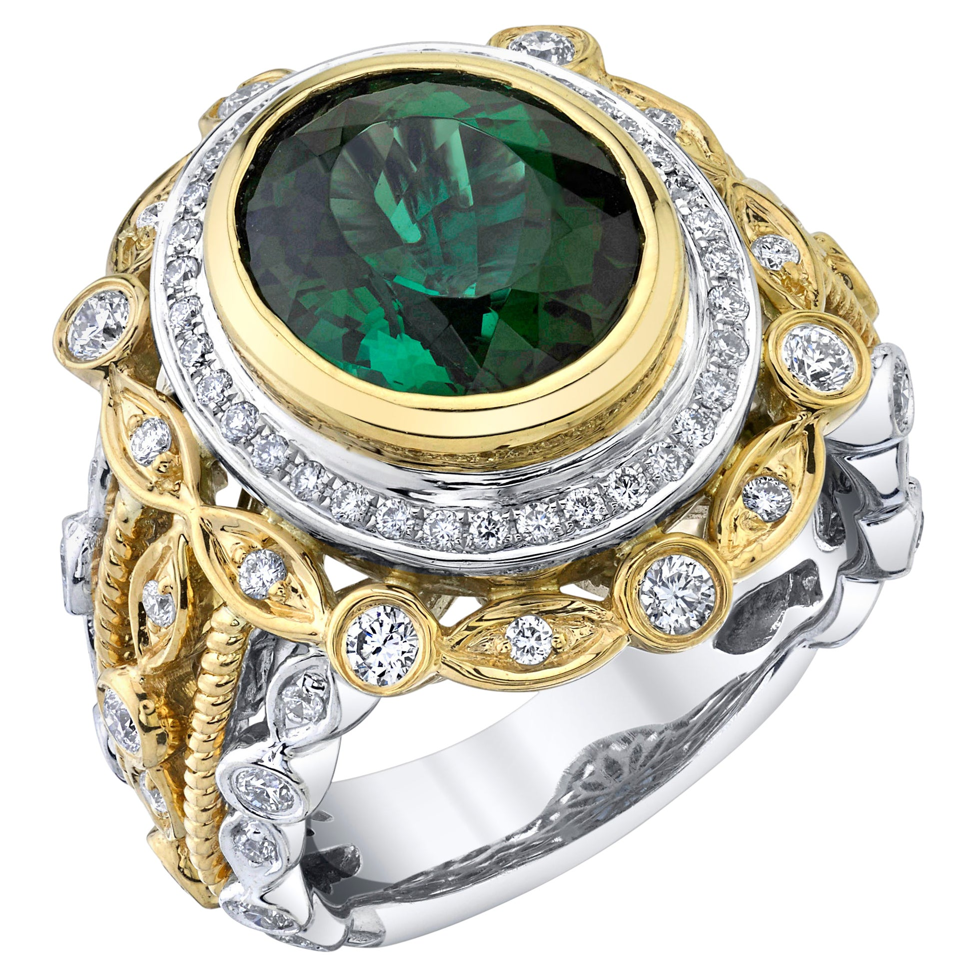 4.45 Carat Oval Green Tourmaline, Diamond White and Yellow Gold Cocktail Ring
