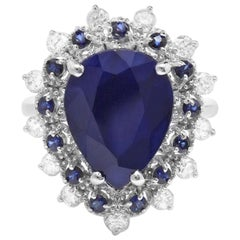 6.00 Carats Natural Blue Sapphire and Diamond 14K Solid White Gold Ring