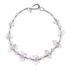 Deborah Liebman Crystal Quartz Sterling Silver Yellow Gold Necklace