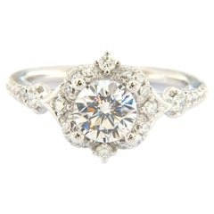 New Gabriel & Co. 0.35ctw Diamond Scalloped Halo Semi Mount Ring in 14K