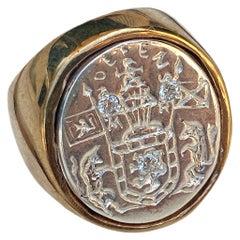 Crest Signet Ring White Diamond Sterling Silver Bronze Unisex J Dauphin