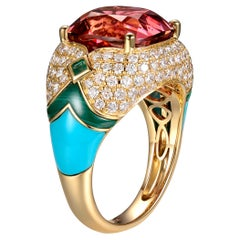 Pink Tourmaline Turquoise Malachite Emerald Diamond Cocktail Ring