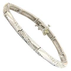 1.15ctw Diamond Twisted Line Link Bracelet in 14K White Gold