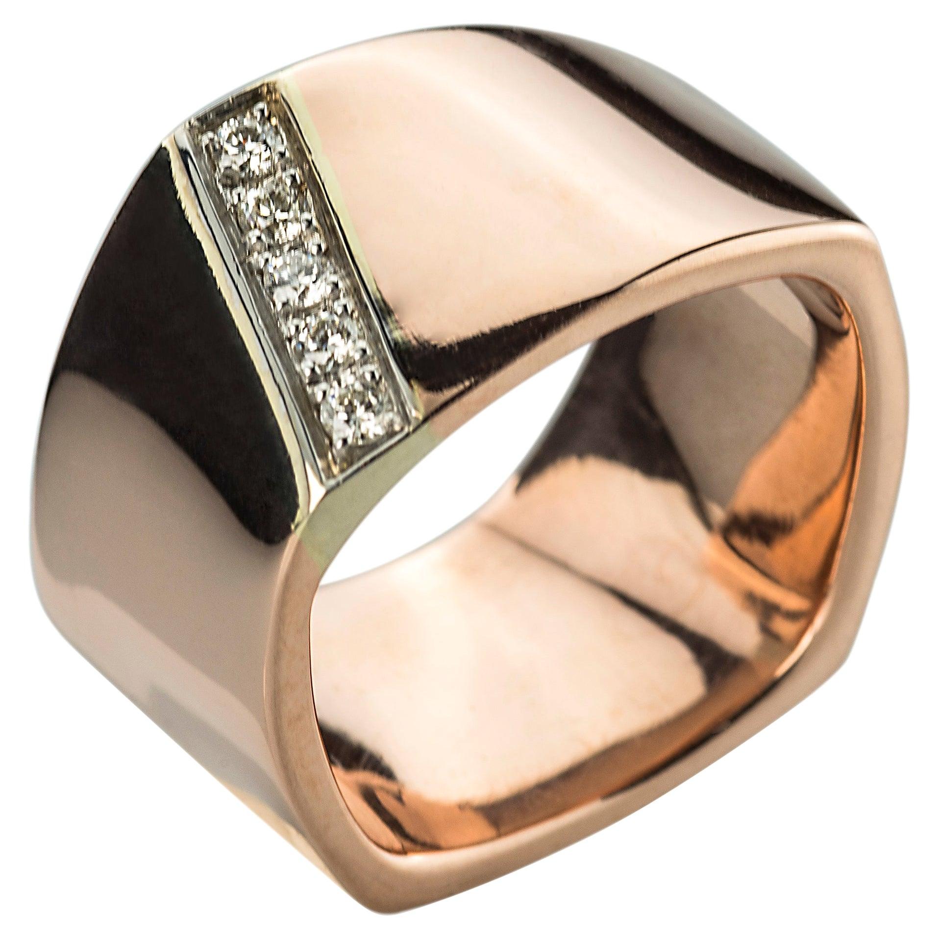 Handcrafted Rose & White Gold 0.20 Karat White Diamonds Design Svevo Band Ring