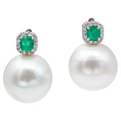 Emeralds, Diamonds, Big White Pearls, 14 Karat White Gold Earrings