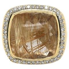 David Yurman Rutilated Quartz and Diamond Albion Ring in 18K Yellow Gold