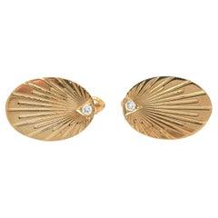 0.05ctw Diamond Oval Cufflinks in 14K Yellow Gold