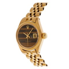 Rolex Oyster Perpetual Date Just Wrist Watch in 18kt Yellow Gold Tiger Eye Dial