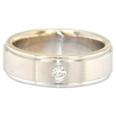 Gents 0.15ct Round Solitaire Diamond Wedding Band Ring in 14K White Gold