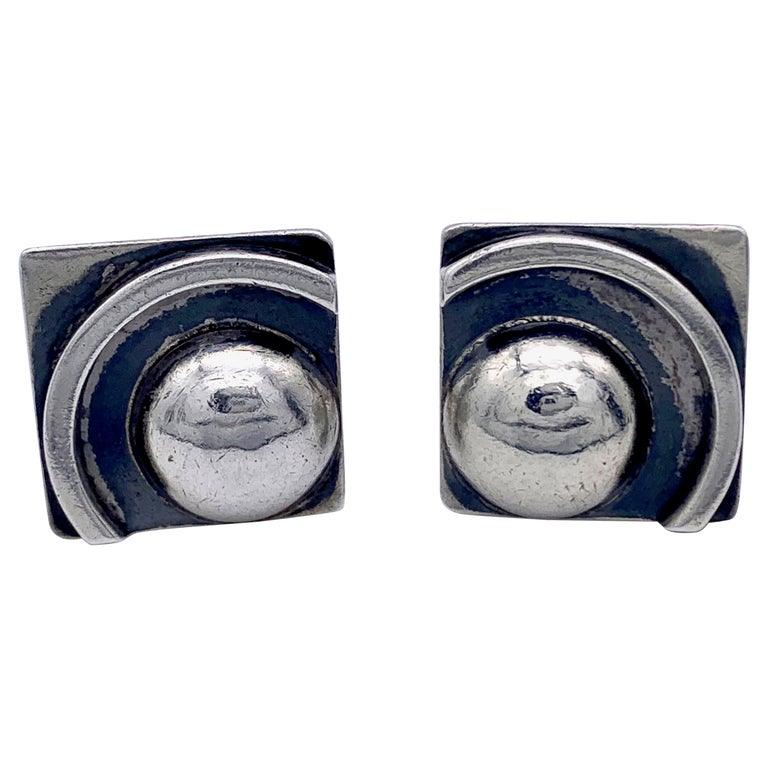 Art Deco Cufflinks Fully Signed CHARLES VAL Sterling Silver For Sale