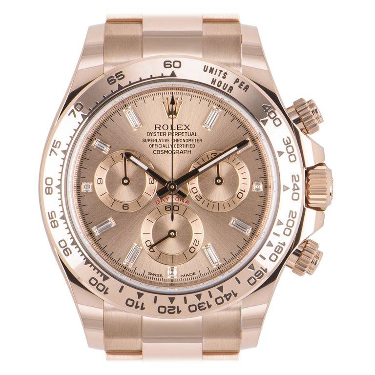 Unworn Rolex Daytona Rose Gold Diamond Dial 116505 Under Warranty For Sale