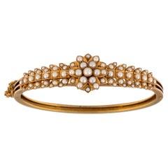 Antique Gold and Natural Bangle Bracelet