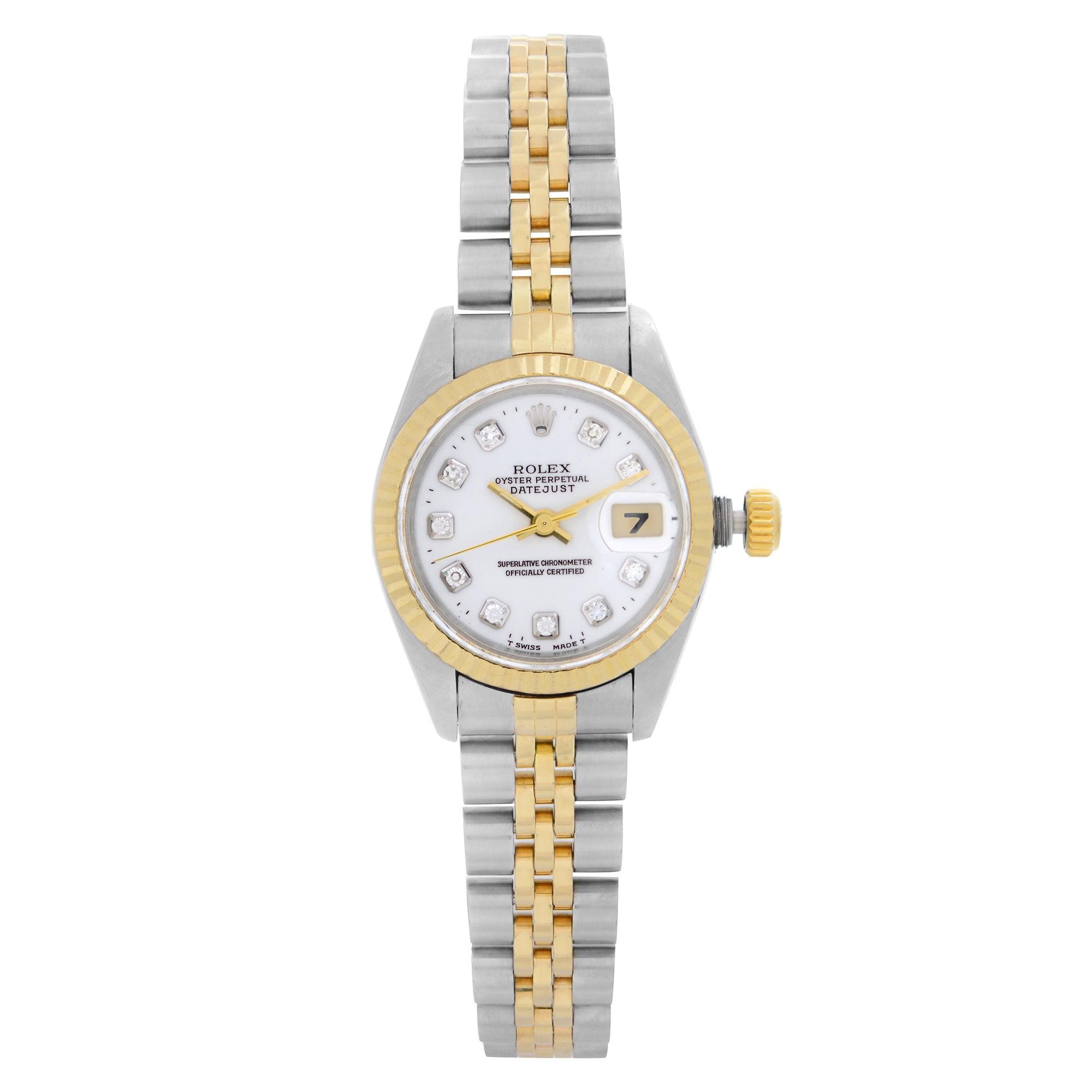Rolex Datejust 18K Yellow Gold Steel White Diamond Dial Ladies Watch 69173