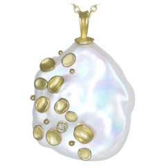 Barbara Heinrich One of a Kind Large Iridescent Pearl Diamond Gold Necklace