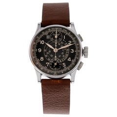 Leonidas Wrist Watch Chronograph Vertical Counters Black Dial, Stainless Steel