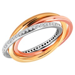 Three Rolling Rings with One Diamond Band and Two Solid Gold Bands