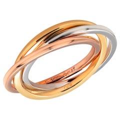 Eighteen Karat Tri Color Three Rolling Ring