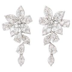 Diamond Cluster Dangle Drop Earring