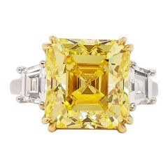 Scarselli 6 Carat Fancy Vivid Yellow Emerald Cut Diamond Ring in Platinum