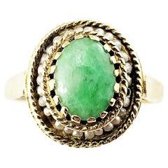 14 Karat Yellow Gold Jade and Seed Pearl Ring