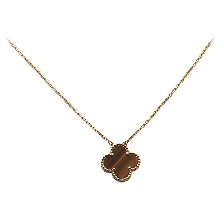 Van Cleef & Arpels 'Vintage Alhambra' Tiger's Eye Pendant Necklace