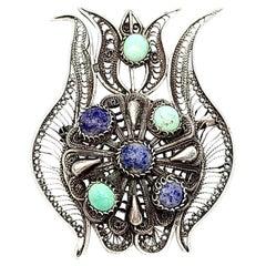 900 Silver Lotus Flower Pin/Pendant