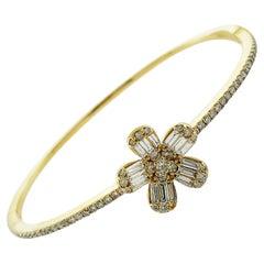 Diamond 18K Yellow Gold Flower Bracelet