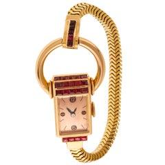 Universal Genève Lady Jewelry Bracelet Watch 18 Carat Yellow Gold and Rubies