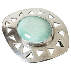Silver and Turquoise Brooch from Michelsen, Sweden, 1953