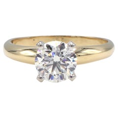 GIA Certified .95 Carat J Vs2 Round Diamond Solitaire Engagement Ring
