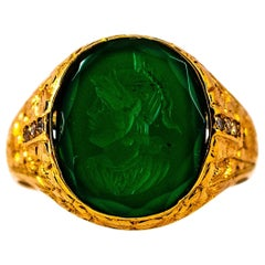Art Deco Style White Diamond Carved Carnelian Yellow Gold Cocktail Ring