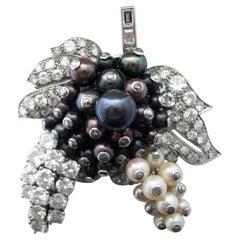 Diamond Pearl Platinum Brooch