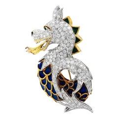 Vintage 12.24cts Dragon Diamond Enamel 18K Gold Animal Pin Brooch