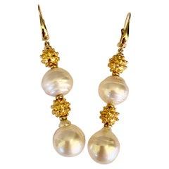 Michael Kneebone South Seas Pearl Granulated Bead Dangle Earrings