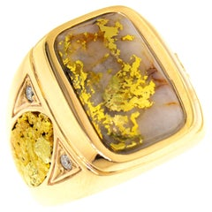 Natural Gold in Quartz and Gold Nugget and Diamond 14 Karat Gold Men's Ring