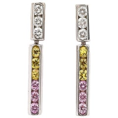 18ct White Gold Diamond and Multi Coloured Sapphire Drop Earrings