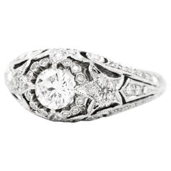 Vintage Classic Diamond Gold Filigree Engagement Ring