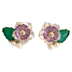 Michael Kneebone Amethyst Diamond Pearl Green Onyx Flower Earrings