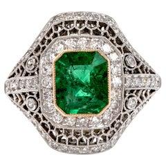 Diamond Emerald Open Work Platinum Cocktail Ring